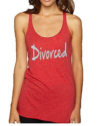 Allntrends Women's Tank Top Divorced Glitter Silver Print Fun Single Top (M, Vintage Red) (Glitter Top Print)
