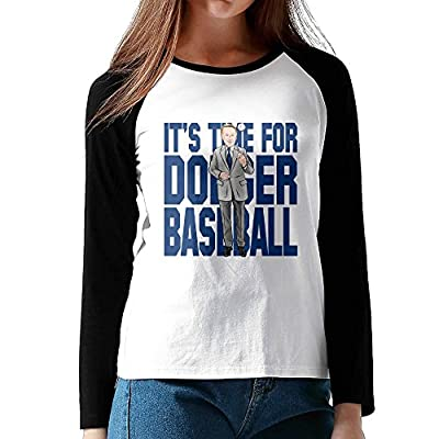 Vin Scully It's Time For Dodgers Baseball Womens Long Sleeve Raglan Baseball Jersey