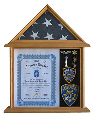Oak Solid Wood Shadow Box For 3' X 5' Flag Folded Not For Burial Flag Glass by Display Case