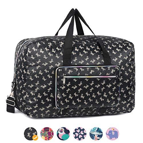 Foldable Travel Duffel Bag Floral Print Luggage Sports Gym bag for Men and Women (50L, Black Dog)