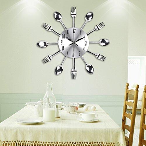 UNIQUEBELLA Kitchen Wall Clock Fork & Spoon Kitchen Decoration Kitchen Home 33 x 33 cm (Silver)