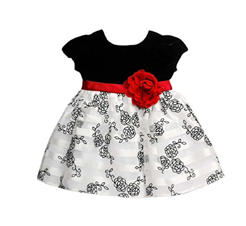 Girls Black White Christmas Dress - 2