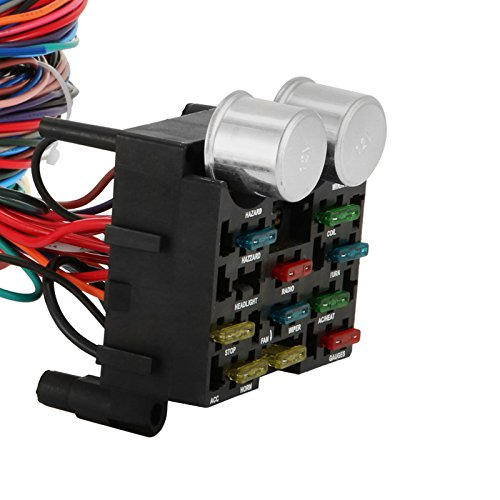 Mophorn Wiring Harness Kit 12 Circuit Hot Rod Universal Wiring ... on vendors street rod wiring harness, 18 circuit universal wiring harness, universal street rod wiper motor, universal street rod radiator, universal diesel wiring harness, universal motorcycle wiring harness, universal car wiring harness, universal street rod motor mounts, universal boat wiring harness, universal gm wiring harness, bus with dimmer switch wire harness, best street rod wiring harness,