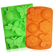 2 Pcs Insect Silicone Trays, SENHAI 6-Cavity 3D Dragonfly Butterfly Ladybug Cake Baking Molds, DIY Soap Handmade Muffin Biscuit Cookie Pans - Orange, Green