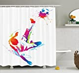 Ambesonne Sports Decor Shower Curtain Set, Soccer Man Kicks The Ball in The Air Digital Watercolors Success Energy Feet Illustration, Bathroom Accessories, 84 inches Extralong, Multi