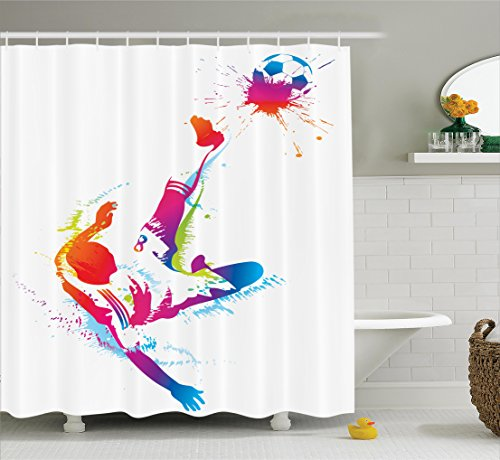 Ambesonne Sports Decor Shower Curtain Set, Soccer Man Kicks The Ball in The Air Digital Watercolors Success Energy Feet Illustration, Bathroom Accessories, 84 inches Extralong, Multi by Ambesonne