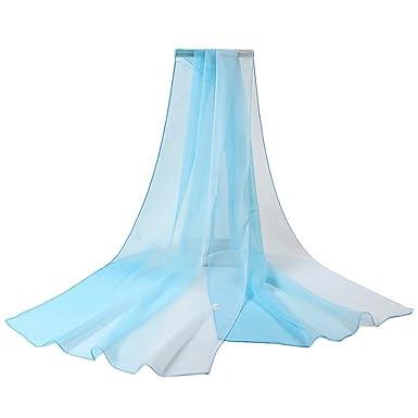 8f98e820d66f YiyiLai Echarpe en Tulle Femme Foulard Protection de Soleil Châle Plage  Soirée Cérémonie Elégant Bleu