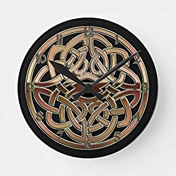 OSWALDO Bronze Metallic Celtic Knot Decorative Round Wooden Wall Clock - 12 inch