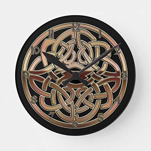OSWALDO Bronze Metallic Celtic Knot Decorative Round Wooden Wall Clock - 12 inch ()