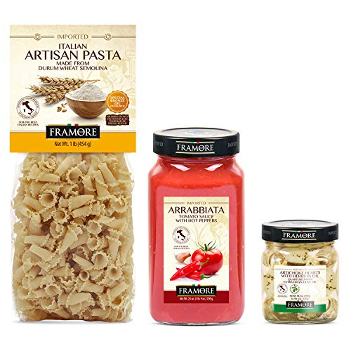 FRAMORE, Artisan Pasta, Gigli 1lb + Arrabbiata Sauce 25 oz. + Artichoke hearts with herbs in oil Quartered 10.2 Oz (3X)- Imported from Italy