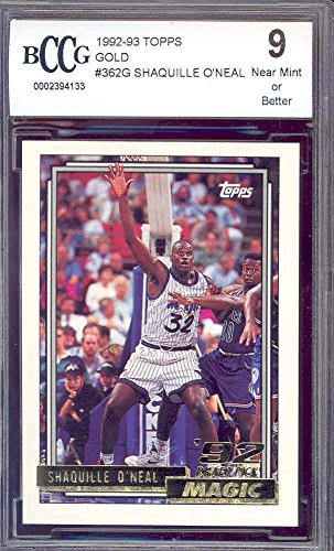 1992-93 topps gold #362g SHAQUILLE O'NEAL orlando magic rookie card BGS BCCG 9 graded (1992 Topps Gold Card)