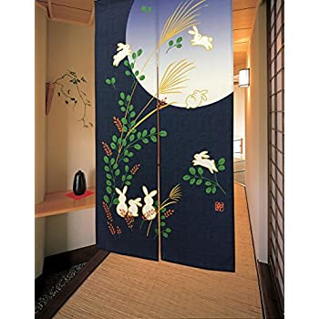 LIGICKY Japanese Noren Door Way Curtain Running Rabbits Under Full Moon Tapestry 33x59inch HG002B