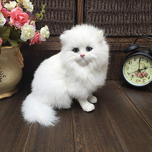 Mr Tree White Plush Cats Lifelike Crouching Animals Models Handmade Realistic Persian cat Dolls Children Plush Toys Home Decoration Gift