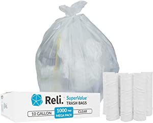 Reli. 6-10 Gallon Trash Bags (1000 Count, Bulk) - Trash Can Liners - 7 Gallon - 8 Gallon - 10 Gallon Trash Bags - Trash Can Liners / Garbage Bags (6 Gal, 7 Gal, 8 Gal, 10 Gal in Bulk), Clear