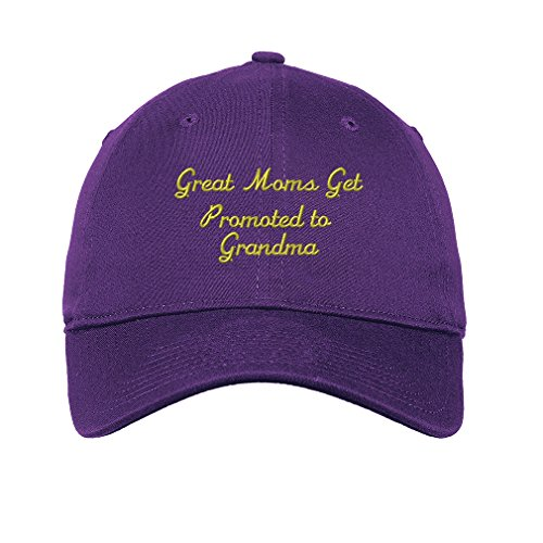 Grandmother Panel - Great Mom'S Get Promoted To Grandma Twill Cotton 6 Panel Low Profile Hat Purple