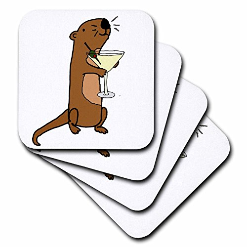 3dRose All Smiles Art Drinking - Silly Funny Cute Sea Otter Drinking Martini - set of 4 Coasters - Soft (cst_260862_1)