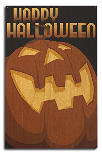 Happy Halloween - Halloween Jack O'Lantern - Vector (10x15 Wood Wall Sign, Wall Decor Ready to Hang) -