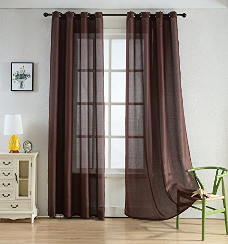 "Merrylife High Class Linen Curtains with Grommets | 2 Panels Colorful Window Drapes | Length 54"" x 84""(CHOCOLATE) (Blue Curtains With And Brown)"