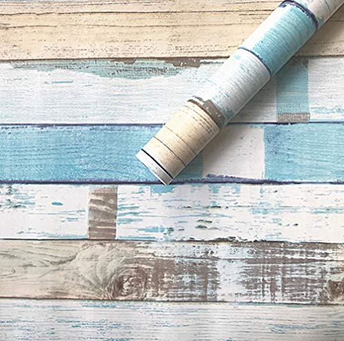 Vintage Blue Distressed Wood Peel and Stick Wallpaper Décor 17.7''x79''