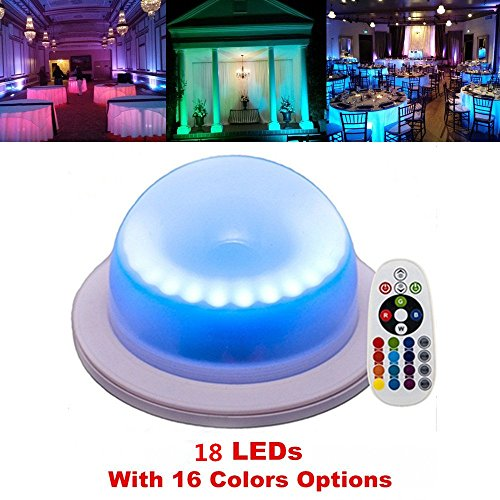 Pool Table Lights Contemporary Lighting - LACGO 18 LEDs 16 Color Options Remote Control Chargable Wedding Under Table Light, Waterproof LED Garden Light, Multicolor Swimming Pool Light for hotels, bars, home indoor outdoor decoration(1Pcs)