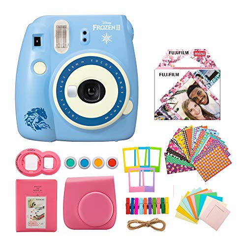 Fujifilm instax Mini 9 Disney Frozen 2 Edition Instant Camera with Confetti Mini Film and 7-in-1 Gift Bundle (3 Items)