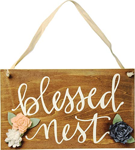 Primitives by Kathy Wooden Hanging Hand Lettered Sign Wall Decor Plaque 'Blessed Nest' - Fabric Hanger Cloth Flowers