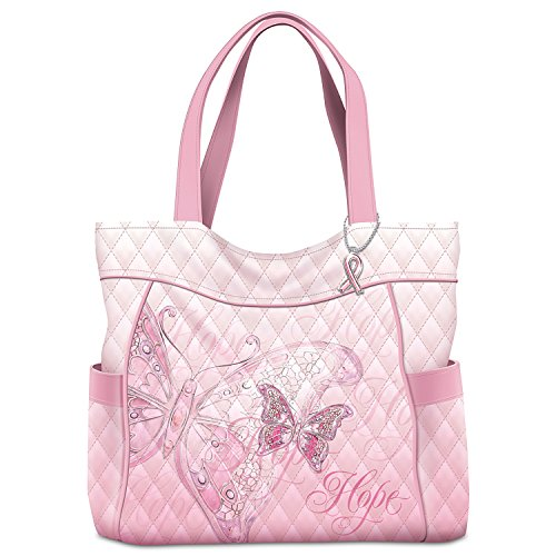 Wings Of Hope Breast Cancer Awareness Butterfly Tote Bag by The Bradford Exchange