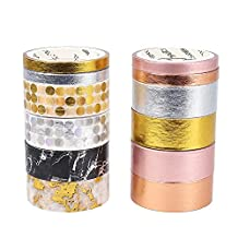 Molshine Set of 12 Japanese Washi Masking Tape, Gold And Silver,Sticky Paper Tape for DIY, Decorative Craft, Gift Wrapping, Scrapbook (8rolls 0.6inch x 3.3 Yard,4rolls 0.2inch x 3.3Yard)