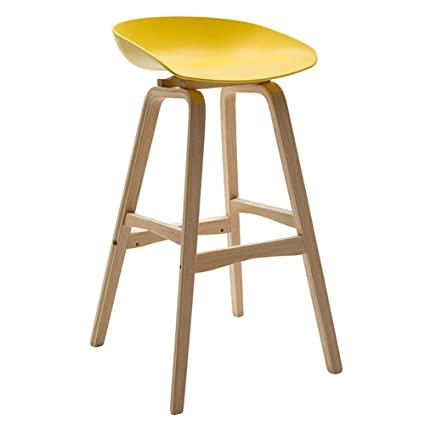 Amazon.com : Zhanghaidong Bar Chairs Yellow with Footrest Wooden ...