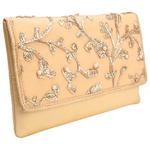 Suman Enteprises's Creation: Stylish Thread Embroidered Silk Clutch Wallet Women's Hand Purse Party Wear Ladies Fashion (Golden) ()