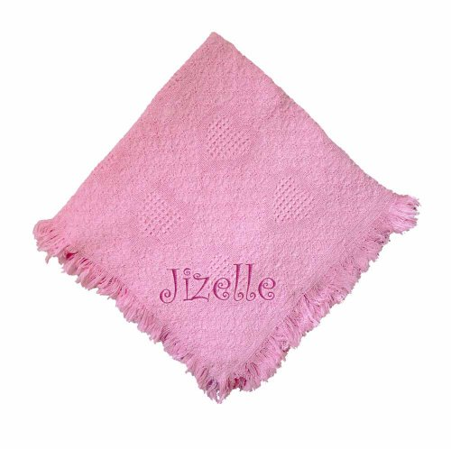 Jizelle Girl Embroidered Embroidered Cotton Woven Pink Baby Blanket