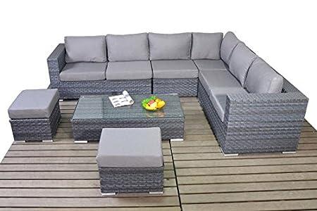 Moderne Grau Große Rattan Garten Ecksofa Rechts 3 Modular 2 Sitzer
