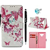 Galaxy Note 9 Case(Not Plus), MOLLYCOOCLE Pink Butterfly Wallet Premuim PU Leather Magnetic Flip Folio Card Slots Kickstand Soft TPU Bumper Slim Fit Protective Cover for Sumsung Galaxy Note 9 Review