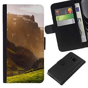 """A-type (Ilustración de la montaña"""") Colorida Impresión Funda Cuero Monedero Caja Bolsa Cubierta Caja Piel Card Slots Para HTC One M9"""