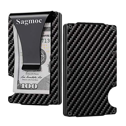 Carbon Fiber Money Clip Wallet for Men - Sagmoc Carbon Fiber RFID Blocking Smart Wallet, Ideal Card Holder for Men  ()
