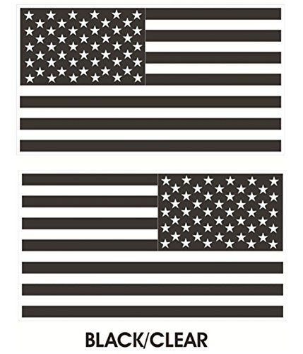 1 Pair Distinguished Fashionable Black-Clear Subdued Flag Stickers Sign Military USA Tactical Car Decal Size 6