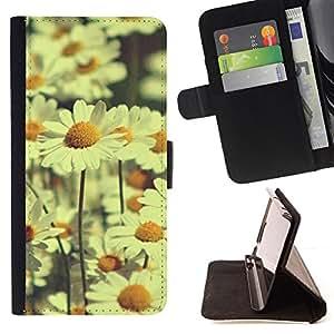 BullDog Case - FOR/Apple Iphone 5C / - / daisy field daisies vignette yellow field /- Monedero de cuero de la PU Llevar cubierta de la caja con el ID Credit Card Slots Flip funda de cuer