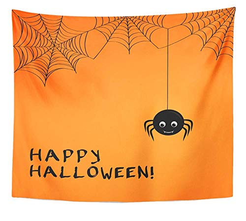 YUGRTSY Wall Tapestry Fun Cute Spider and Webs Over Orange with Happy Halloween Text Treat Trick Bug 71x60Inches Adults Kids' Room Decor Wall Blanket Cloth -
