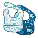 Bumkins Starter Bib, Baby Bib Infant, Waterproof, Washable, Stain and Odor Resistant, 3-9 Months, 2-Pack - Dinosaurs, Blue Tropic, 3-9 Months