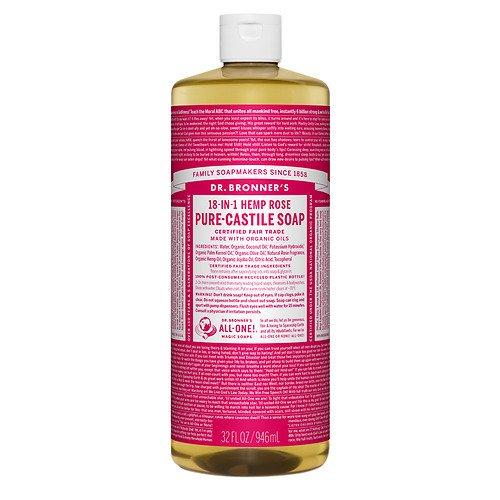 Dr. Bronner's 18-IN-1 Hemp Pure-Castile Soap, Organic Rose 32 fl oz(Pack of 1) -