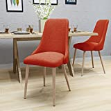 Raphelle Mid Century Muted Orange Fabric Dining Chairs with Light Walnut Wood Finished Legs (Set of 2)