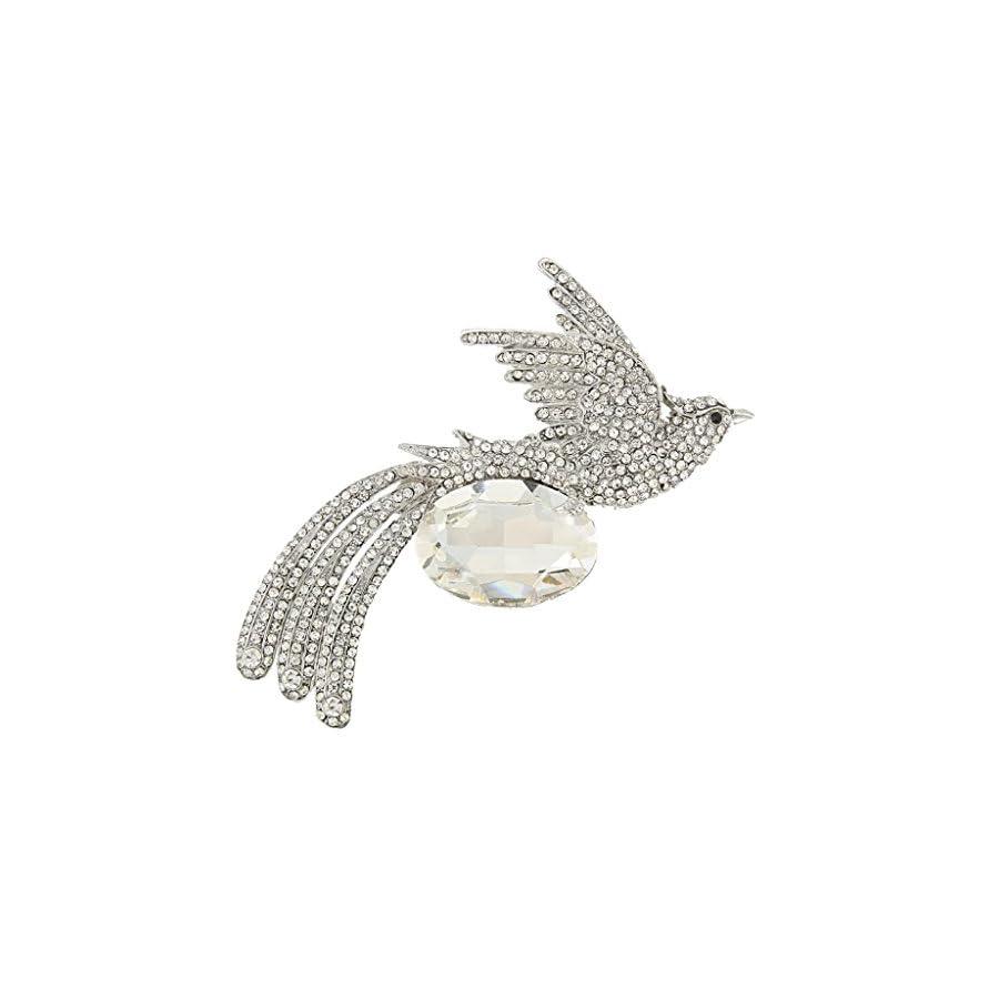 EVER FAITH Rhinestone Crystal Oval Flying Phoenix Bird Animal Brooch Pin
