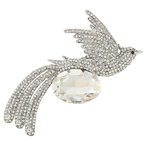 EVER FAITH Rhinestone Crystal Oval Flying Phoenix Bird Animal Brooch Pin