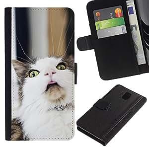Samsung Galaxy Note 3 III - Dibujo PU billetera de cuero Funda Case Caso de la piel de la bolsa protectora Para (LOL Funny Cat)