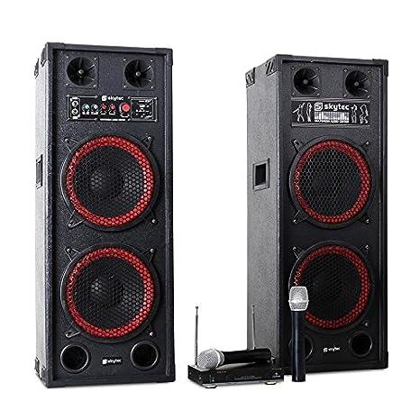 Karaoke-Anlage STAR-Schöneberg PA Boxen + Funk Mikrofon Set (1200W Leitung, MP3-Wiedergabe von USB & SD, bis 100 Meter Miro-Reichweite) rot-schwarz Fenton Auna 60000634