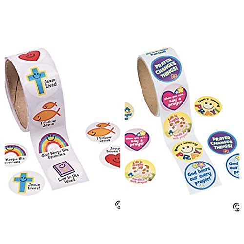 Two (2) Rolls RELIGIOUS Stickers (2 Different rolls of 100) FAITH Prayer - Inspirational CHRISTIAN Symbols - EDUCATION Teacher Motivational Rewards VBS VACATION Bible School