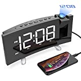 Best Clock Radios - CSHID-US Projection Alarm Clock, 5'' Dimmable LED Curved Review
