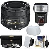 Nikon 50mm f/1.8G AF-S Nikkor Lens with 3 Filters + Flash & 2 Diffusers + Kit for D3200, D3300, D5300, D5500, D7100, D7200, D750, D810 Cameras