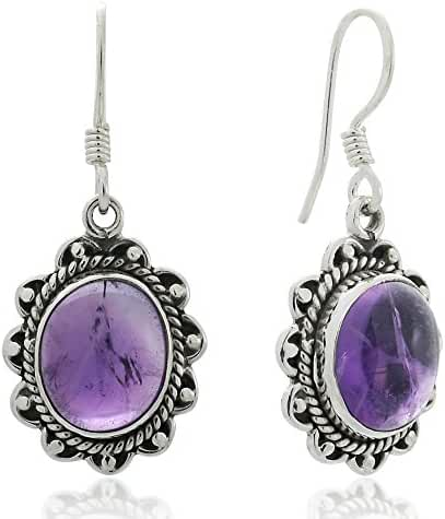 925 Oxidized Sterling Silver Natural Gemstone Oval Rope Edge Vintage Dangle Earrings 1.4
