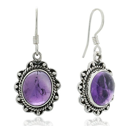 Crystal Rope Earrings (925 Oxidized Sterling Silver Amethyst Gemstone Oval Rope Edge Vintage Dangle Earrings 1.4